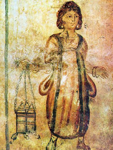 Fresco of a servant in the Roman Tomb of Silistra in northeastern Bulgaria