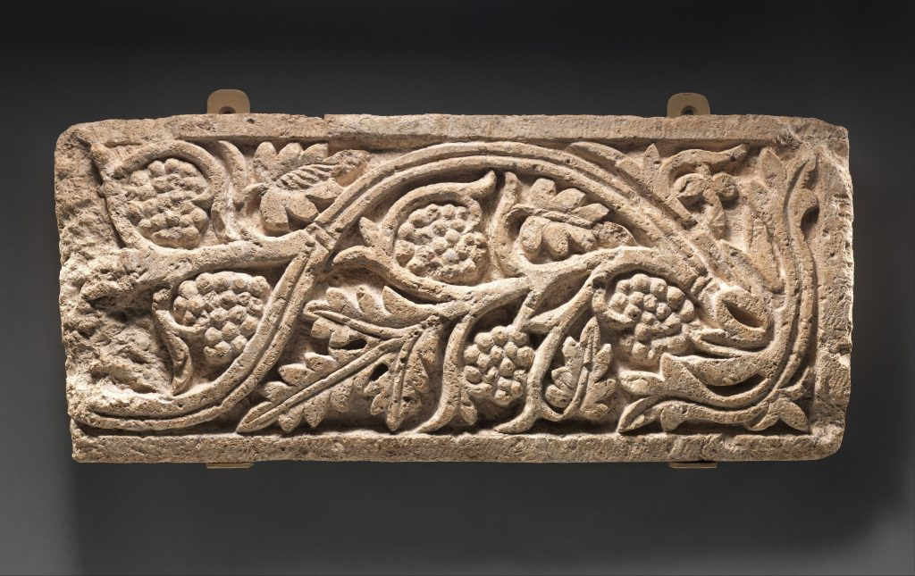 Fragment of a Frieze with a Vine Scroll Bearing Leaves, 6th–7th century Coptic, Coptic period (3rd–12th century)