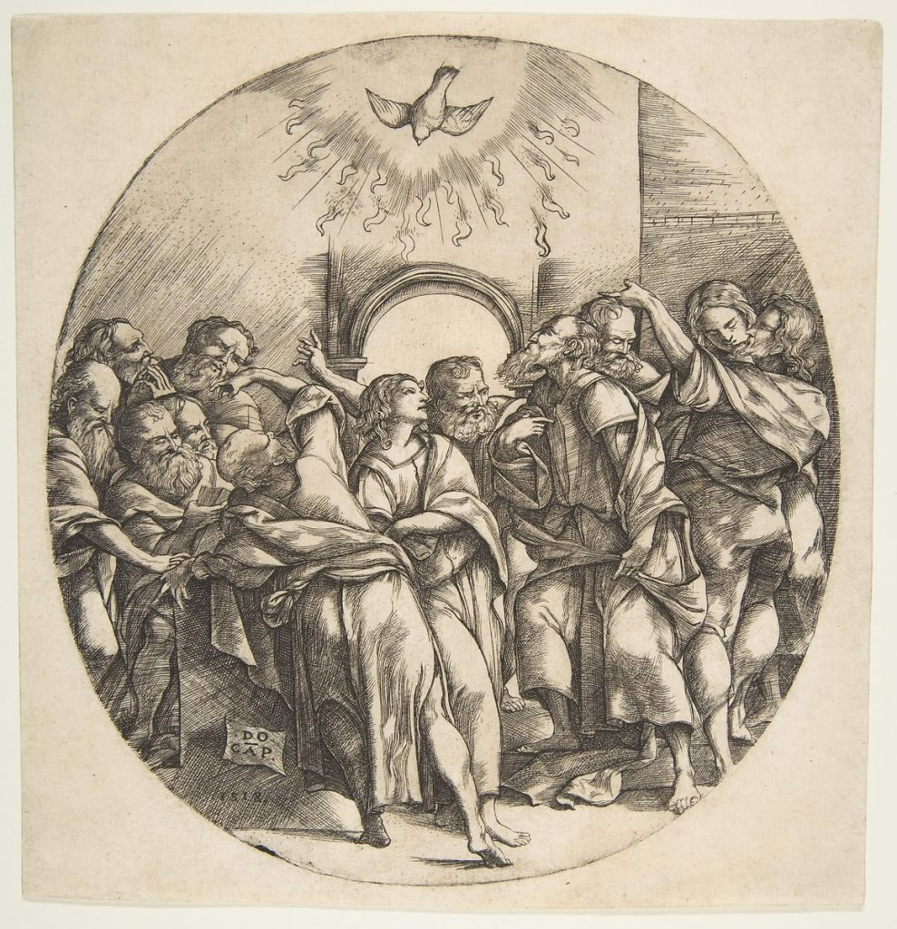 The Holy Spirit as a bird descending with spread wings at top center; the twelve Apostles standing below gesturing to it in front of an archway by Domenico Campagnola-1518