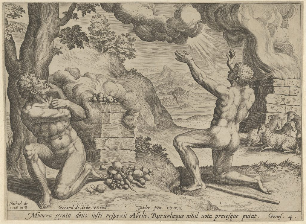 Johannes Sadeler I (Netherlandish, Brussels 1550–1600 Venice (?)) The sacrifice of Abel (plate 1 from The Story of Cain and Abel), 1576 Netherlandish, The Metropolitan Museum of Art, New York,