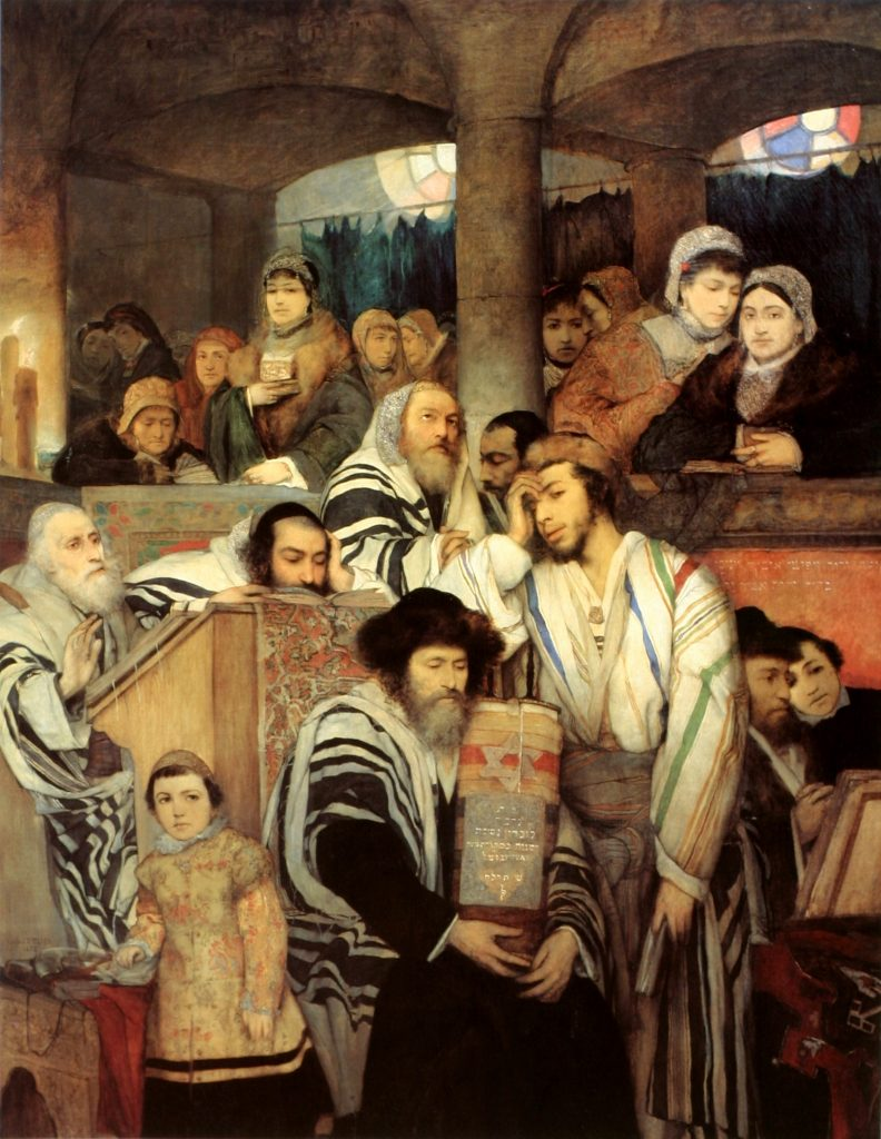 Jews Praying in the Synagogue on Yom Kippur  by  Maurycy Gottlieb, 1878 Note the solemnity of the moment. Image in the Public Domain